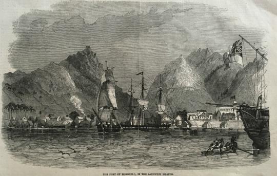 Port Of Honolulu >> Wood Engraving Of The Port Of Honolulu In The Sandwich Islands