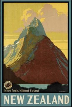 Milford Sound Vintage Nz Travel Poster New Zealand Fine