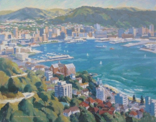 Wellington From Mt Victoria By Bill Maccormick New Zealand Fine Prints