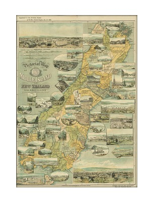 South Island Map Of New Zealand.Vintage South Island Map Print