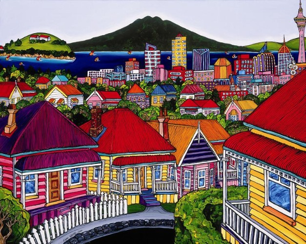 Auckland Harbour from Ponsonby by Fiona Whyte