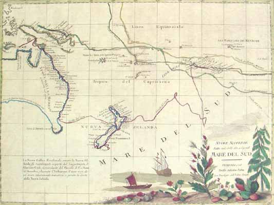 Map of New Zealand and the South Pacific by Antonio Zatta for Sale