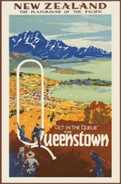 Vintage Queenstown Travel Poster For Sale New Zealand