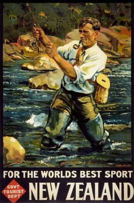 NZ Vintage Fly Fishing Poster New Zealand Fine Prints