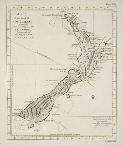 Detailed Map Of New Zealand.Captain Cook S Map Of The Coast Of New Zealand Large