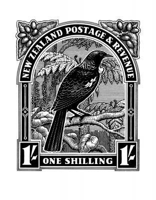 Close historical nz stamp print tui