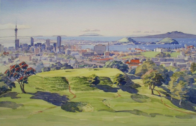auckland from mount eden by bill maccormick  new zealand