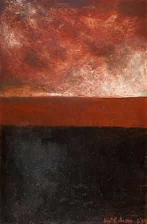 Print Of Colin Mccahon S Painting Red Amp Black Landscape