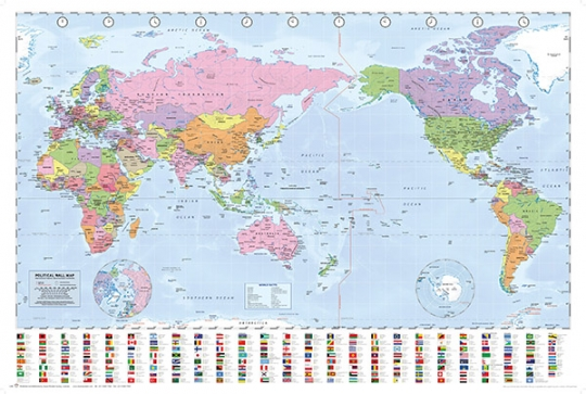 New Zealand On Map Of World.World Map Poster Nz Centred