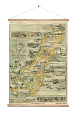 close south island vintage wall map on canvas