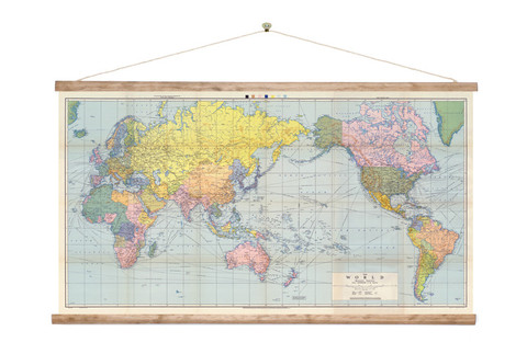 Vintage World Wall Map Canvas Print: New Zealand Fine Prints on