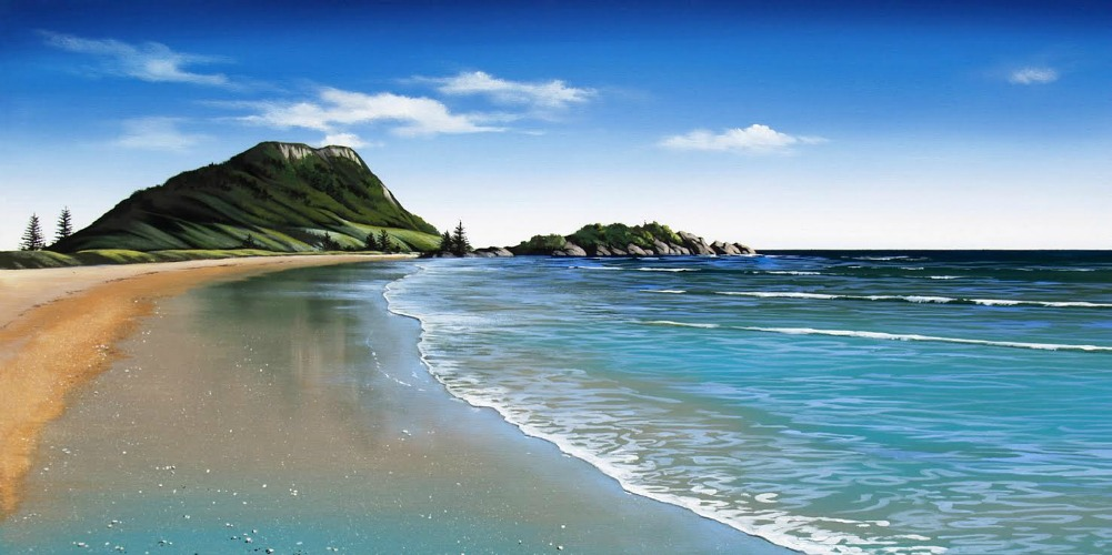 Mt Maunganui Canvas Art Print By Nz Artist Linelle Stacey