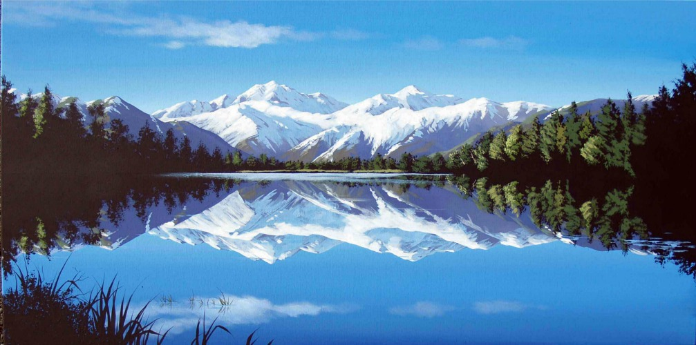 Linelle Stacey Canvas Art Print Mirror Lake New Zealand
