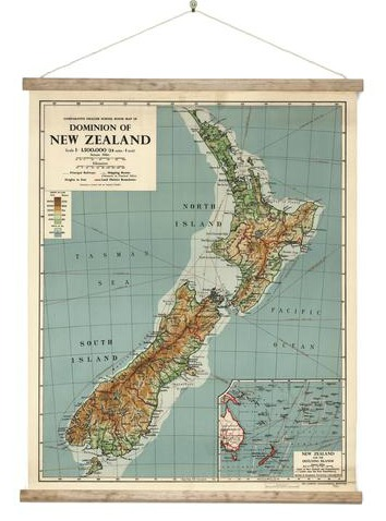Dominion Map of NZ - Vintage Canvas Style: New Zealand Fine Prints on