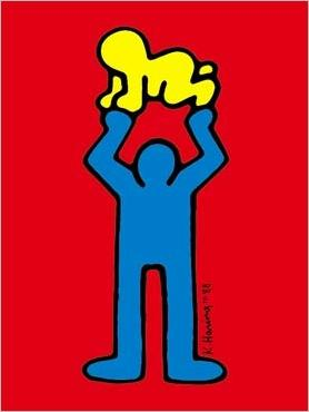Blue Figure With Baby By Keith Haring New Zealand Fine Prints